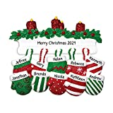 Personalized Mitten Family of 10 Christmas Tree Ornament 2020 - Knit Winter Stocking Gloves Mantle Candles Parent Children Friend Glitter Gift Tradition First Year - Free Customization (Ten)