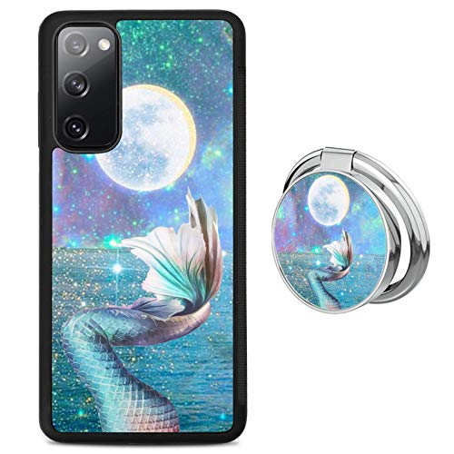 Shiny Mermaid Tail Samsung Galaxy S20 FE 5G Case with Grip Ring Holder Multi-Function Cover Slim Soft and Hard Tire Shockproof Protective Phone Case Slim Hybrid Shockproof Case for Samsung Galaxy S20
