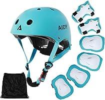 AIDY Casque Vélo Enfant Kit de Protections pour Enfants Casque de Enfant Casque Genouillères Coudières Coussins Poignet...
