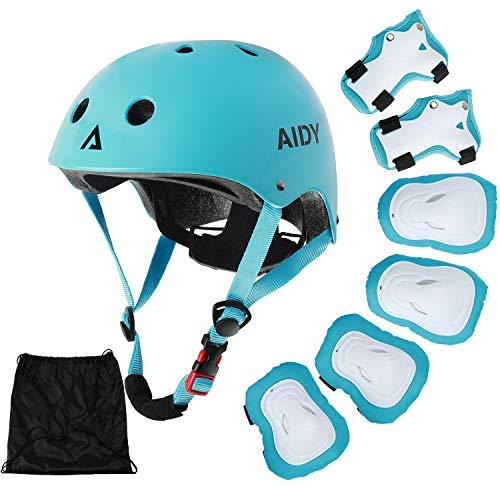 AIDY Kinder Knieschoner Schützer Inliner Protektoren Skate Helmet Knie Pads Elbow Pads mit Handgelenkschoner für Skate Skateboard Roller Skate Bike und Anderen Extreme Sports