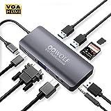 OOWOLF 9-IN-1 USB-Cハブ ドッキングステーション ウルトラスリム usb type c 変換アダプタ 9ポートハブ USB3.0高速ハブ / バスパワー/軽量/コンパクト Switch OTG対応 【3つのUSB 3.0ポート / 100W出力 Power Delivery 対応USB-Cポート / 4K対応HDMI出力ポート / 3.5mmオーディオジャック / VGA変換 / microSD&SDカードスロット搭載 スペースグレー small