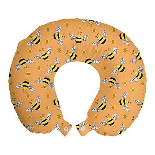 ABAKUHAUS Honingbij Reiskussen, Vliegen en Hexagon Shapes, Reisaccessoire met Geheugenschuim voor Vliegtuig en Auto, 30 cm x 30 cm, Orange Mustard