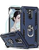 LeYi für Huawei Mate 20 Lite Hülle mit HD Folie Schutzfolie,360 Grad Ring Halter Handy Hüllen Cover Magnetische Bumper Schutzhülle für Hülle Huawei Mate 20 Lite Handyhülle Blau