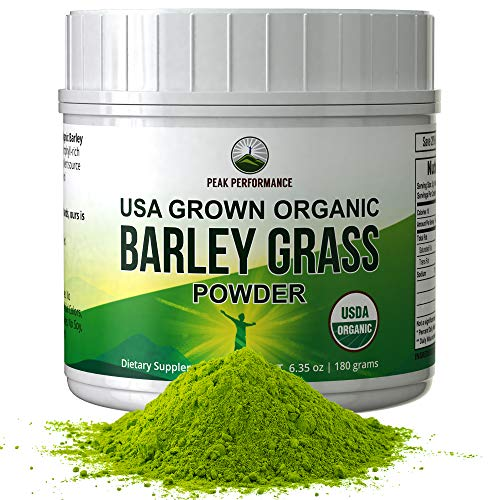 Organic Barley Grass Powder by Peak Performance. USA Grown Vegan Superfood Supplement Rich in Fiber, Antioxidants, Chlorophyll. Non Irradiated, Non GMO, Gluten Free Barleygrass Extract Powders