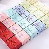 Recet Caja de joyería 12 piezas caja de regalo de anillo de cartón, cajas de joyería, caja para Navidad, día de San Valentín, collar, pendiente, regalo, color aleatorio (caja de anillo cuadrada)
