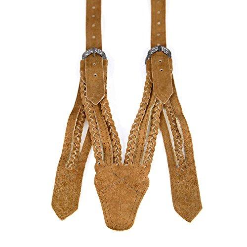 Almbock Trachten Hosenträger Norweger - mittelbraune Hosenträger mit antiken Schnallen aus Bayern, werden an den Knöpfen der Lederhose befestigt