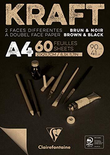 Clairefontaine 975818C - Bloc encolado de papel Kraft bicolor – 60 hojas de papel kraft marrón y negro A4 21 x 29,7 cm 90 g – Papel de doble cara para bocetos y dibujar