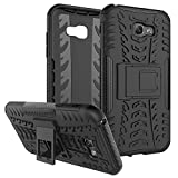 Galaxy A7 2017 Case,Yiakeng Shockproof Impact Protection Tough Rugged Dual Layer Protective Armor Case Cover with Kickstand for Samsung Galaxy A7 (2017),Samsung SM-A720F (Armor Black)