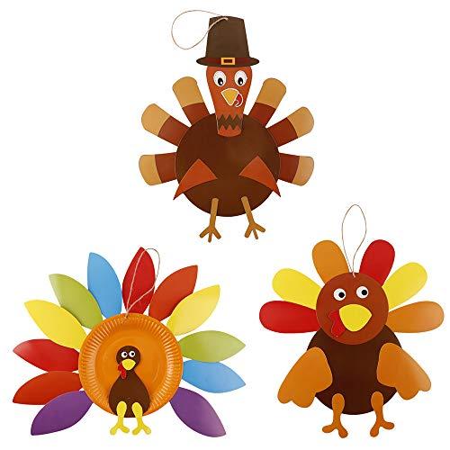 Siebwinn 3pcs DIY Thanksgiving Türkei Ornament handgemachte Handwerk Set Herbst Thanksgiving Party hängende Dekorationen