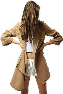 XFentech Mujer Abrigo de Primavera otoño - Chaqueta con Dobladillo Irregular Abrigo de Solapa de Color Sólido