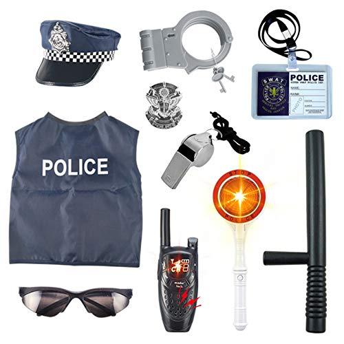 Lommer Polizei Spielzeug, 10 Stücke Kinder Polizei Kostüme Polizei Rollenspiel Set für Swat, FBI, Detektiv,...