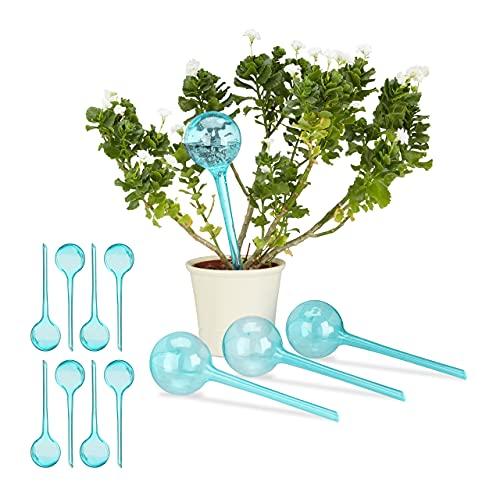 12 x Bewässerungskugeln im Set, 2 Wochen, Versenkbar, Topfpflanzen, Dosierte Bewässerung 250 ml, Kunststoff, hellblau