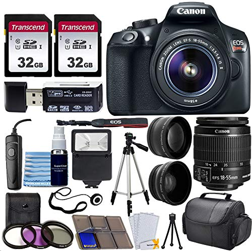Canon EOS Rebel T6 Digital SLR Camera with 18-55mm EF-S f/3.5-5.6 is II Lens + 58mm Wide Angle Lens + 2X Telephoto Lens + Flash + 2X 32GB SD Cards + 3 Piece Filter Kit + Tripod + Full Accessory Bundle