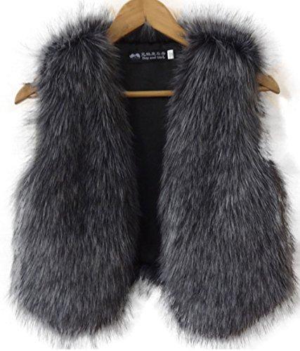 Niaona Women's Petite Fox Fur Vest Long Fur Hi-Low Hem Waistcoat Assorted