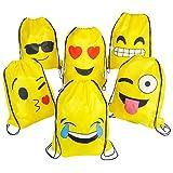 Rhode Island Novelty 16'x 13' Emoji cordón Mochilas, Pack de 12Unidades, 1docena