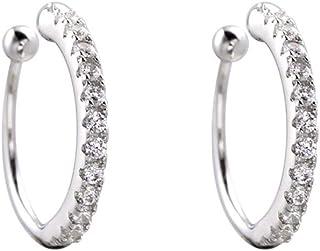 Dainty Crystal Ear Cuffs No Piercing Small Hoop Earrings Sterling Silver CZ Cartilage Wrap Climber Huggies 11mm for Women ...