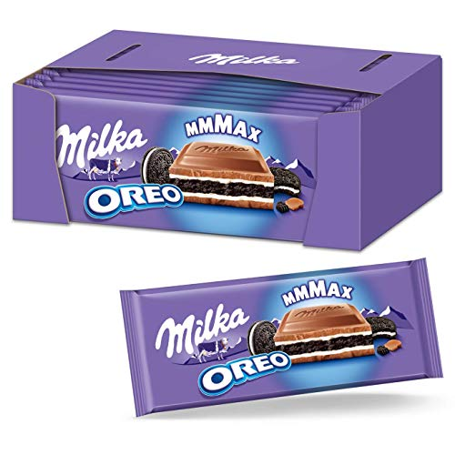 Milka OREO Schokoladentafel 12 x 300g Großtafel, Zarte Milka Alpenmilch Schokolade mit knusprigem OREO Keks