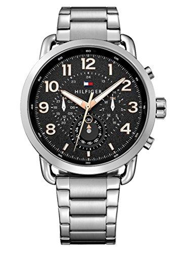 Tommy Hilfiger - Reloj de cuarzo para hombre con correa de acero inoxidable, color plateado, 21.1 (modelo: 1791422)