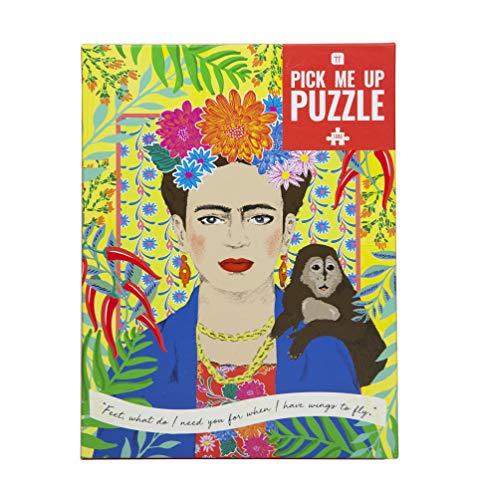 Talking Tables Frida Kahlo Rompecabezas de 1000 Piezas con póster y Hoja de Trivia | Cita inspiradora de Retrato de Mujer, diseño ilustrado Colorido, Regalo de cumpleaños, Regalos para Ella, Boho