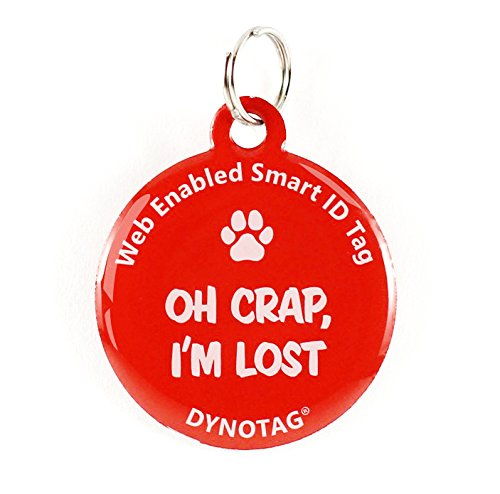 Dynotag Web Enabled Super Pet ID Smart Tag. Deluxe Coated Steel, with DynoIQ & Lifetime Recovery Service. Fun Series (Red: