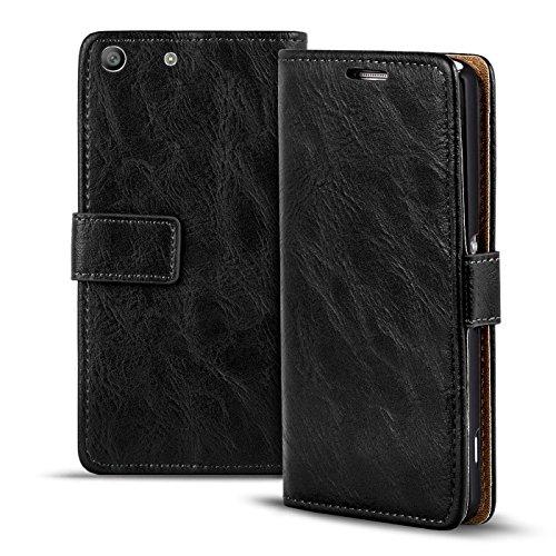 Verco Xperia M5 Hülle, Premium Handy Schutzhülle für Sony Xperia M5 Hülle PU Leder Wallet Tasche Retro Flipcase, Schwarz