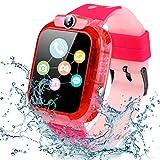 Reloj Inteligente niño, Smartwatch niñas IP68 LBS, Llamada Bidireccional, SOS Modo de Clase, Cámara, Juegos, Regalo para 3-12 años, Smartwatch soporta 2G Tarjeta Micro SIM (Rojo)
