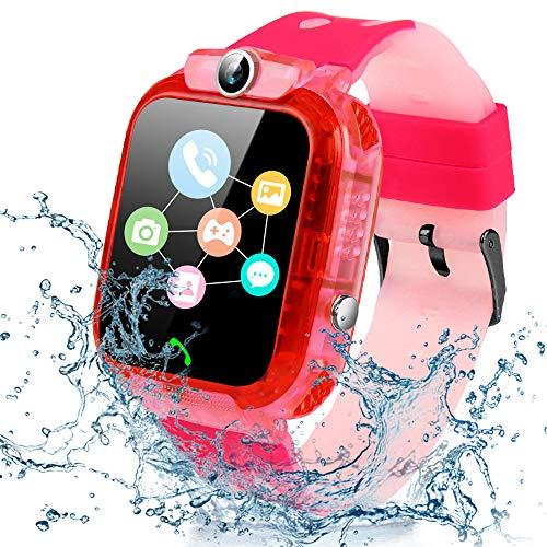 Smartwatch per Bambini - Impermeabile IP68 LBS Tracker Orologio Intelligente Telefono con SOS Chat Vocale, Sveglia e Gioco di Matematica Studente Smart Watch, Regalo Ragazzo e Ragazza