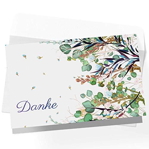 20 Dankeskarten Klappkarten Set mit Umschlägen, Dankeskarte, Karte Danke, Postkarte Danke, Dankeschön Karten, Thank you cards, Dankeskarten Hochzeit, Danke Karten DIN A6