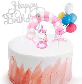 Gresunny Decoración para Tarta Cumpleaños Happy Birthday Cake Toppers para Tartas Arcoiris Globos Adornos de Pasteles para Fiesta de Niños Infantil Baby Shower