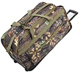 Explorer Mossy Oak Realtree Like Tactical Hunting Camo Heavy Duty Duffel Bag Luggage Travel Gear for Huniting Outdoor Police Security Every Day Use (30' Rolling Bag)