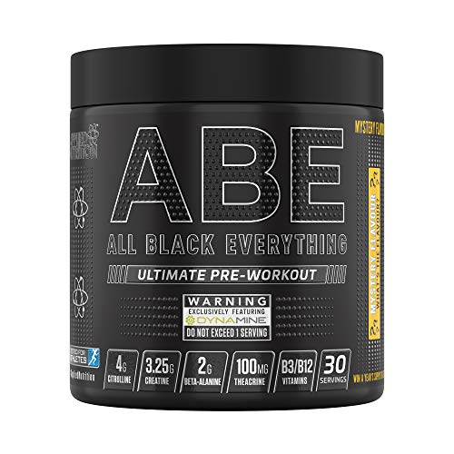 Applied Nutrition ABE - All Black Everything Pre Workout Energy, Increase Physical Performance with Citrulline, Creatine, Beta Alanine, Caffeine Vitamin B Complex, 315g, 30 Servings (Mystery Flavour)