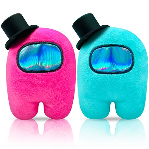 Among US Plush | Stuff Animal Plushies Toys Cute Merch Crewmate Plushie Imposter Gifts for Game Fans Set of 2( Pink+SkyBlue / 4.3' )