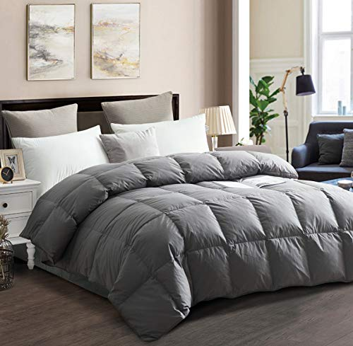 drtoor Luxurious Down Comforter, All Seasons King Duvet Insert, 100% Hypoallergenic Cotton Cover, High Fill Power, 50oz Fill Weight – Grey, King Size