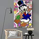 Cartoon Entenplakat und Druckgrafik Leinwand Kunst Wandmalerei Leinwand Büro Wohnzimmer Hauptdekoration,Rahmenlose Malerei,50x75cm