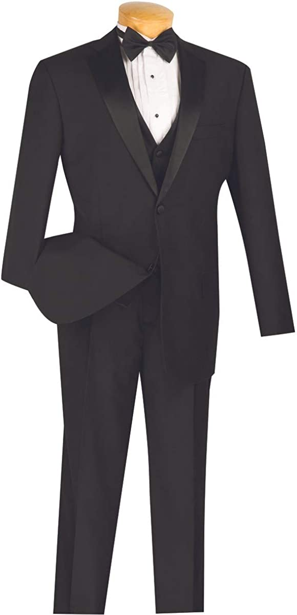 VINCI Men's 2 Button Single Breasted Classic Fit Wool Feel Tuxedo with Vest & Bow Tie 4TV-1