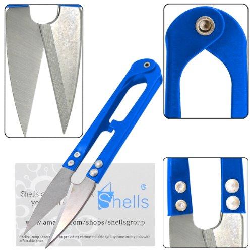 Shells 5PCS All Metal Scissor Sharp Beading Thread Cutter Fishing Line U Sewing Scissors (3 X Blue)