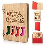 Holz-Grußkarte, Weihnachtskarten mit Umschlag Set, Karte aus Bambus, Twine Frohe Weihnachten Karte, Handgemachte Grußkarte aus Holz Weihnachtsmuster, Weihnachtsgeschenke und Wünsche (Bunte Socken)