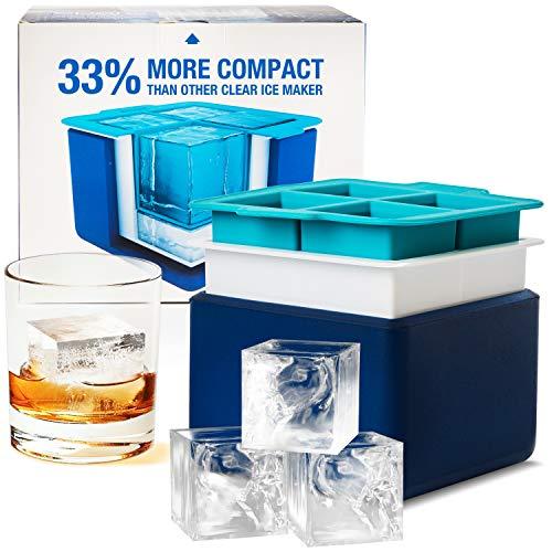 Eparé Eiswürfel-System - Form für 4 große kristallklare Eiswürfel - Kompakte Schale für perfekte 5,08 cm große Eiswürfel