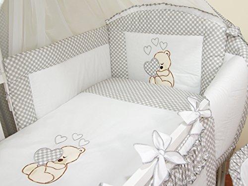 Ropa de cama para cuna de bebé, 100% algodón, conjunto completo de 3piezas con funda de edredón, funda de almohada y protector de cuna, diseño bordado de osito gris gris Talla:120x60cm