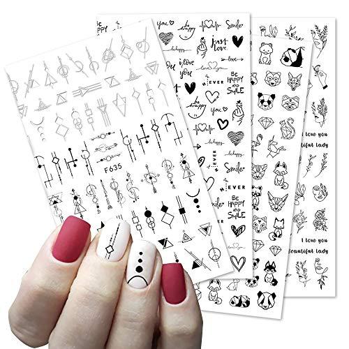 BLOUR 1 Hoja 3D Pegatina de uñas líneas Negras Flores Animales Hojas Imagen de corazón decoración de uñas Deslizador para manicura de uñas 2020 Nuevo