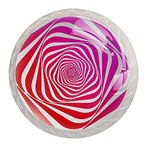 Pomos de cajón con diseño de rayas, color rosa, para gabinete, 4 unidades, redondos, sólidos, para gabinetes de cocina
