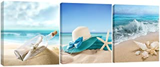 Pyradecor 3 Panels Starfish Seashell Bottle Beach Pictures on Canvas Wall Art Modern Seascape Stretched and Framed Giclee ...