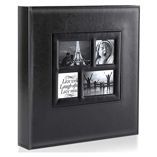 Ywlake Album Photo 600 Pochettes 10x15cm Photos Grand Format Famille Mariage Classique Couverture en Cuir (60 Feuilles, 120 Pages, Noir)