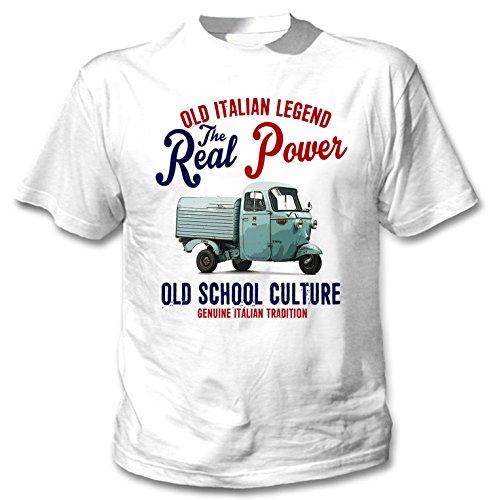TEESANDENGINES Herren-T-Shirt Piaggio Vespa APE 1963, italienisches Weiß Gr. L, weiß