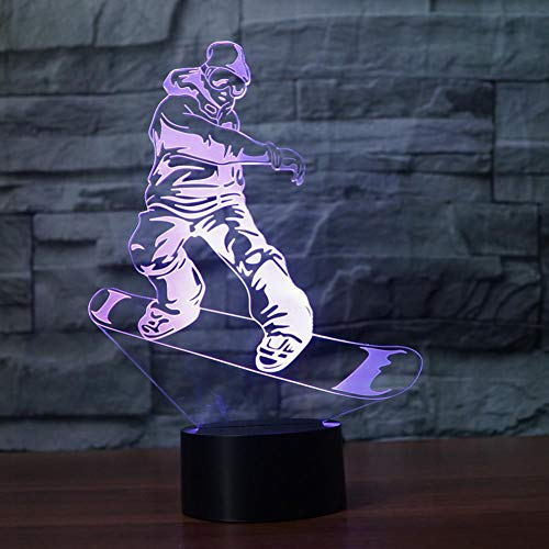 LPHMMD Night Light Snowboarden Model 3D 7 Kleur LED Nachtlampen Kids Touch LED USB Baby Slee Nachtlampje