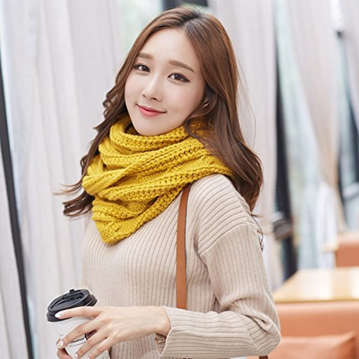 DIDIDD Female Collar Collar Double Thick Scarf Knitted Winter