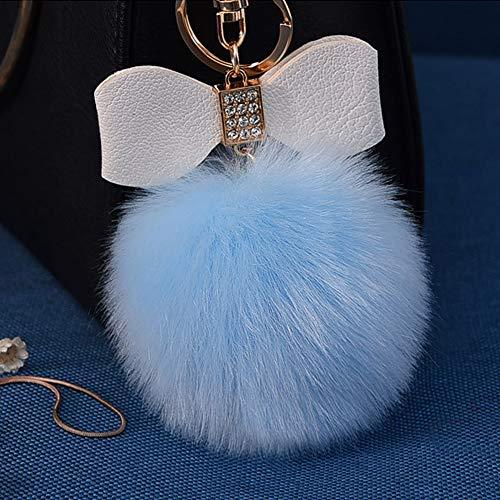 Fluffy Ball Key Chain 8-10cm Cute Keychain Bag Charm Ball Fur Key Chain for Car Key Ring (Light Blue)