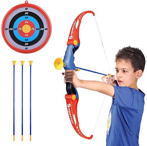 RCTOYS Juego de Tiro con Arco de Juguete para niños Juego de Ventosa interactiva Flecha Arco y Juego de Flechas Juguete para Exteriores