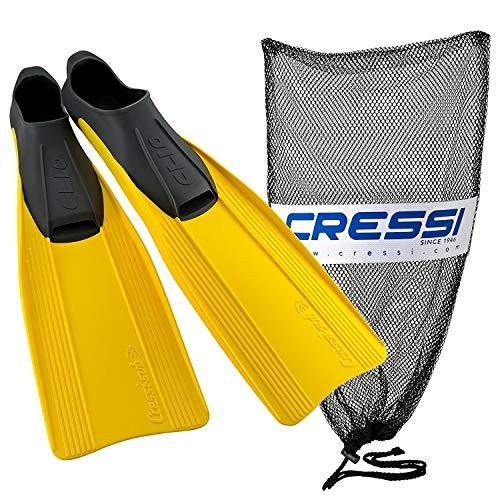Cressi Clio completo hecho en Italia aletas de pie con bolsa, amarillo,...