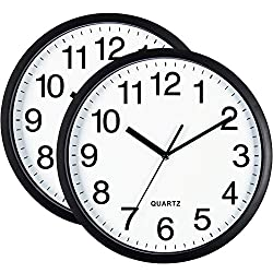 Bernhard Products Black Wall Clock Silent Non Ticking 10 Inch Quality Quartz Battery Operated Round Easy to Read Home/Office/Classroom/School Clock, Sweep Movement (2)